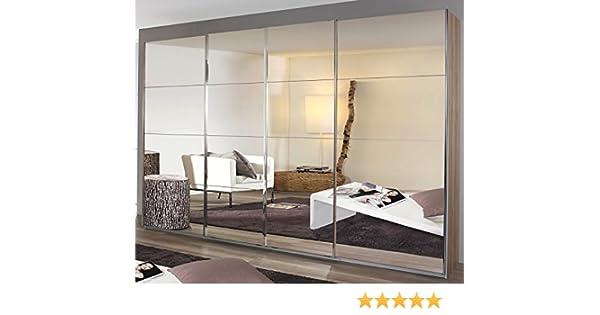 Armario con puertas correderas (puerta batiente de sincronización, 4 puertas, 271 x 230 x 62 cm), color blanco: Amazon.es: Hogar