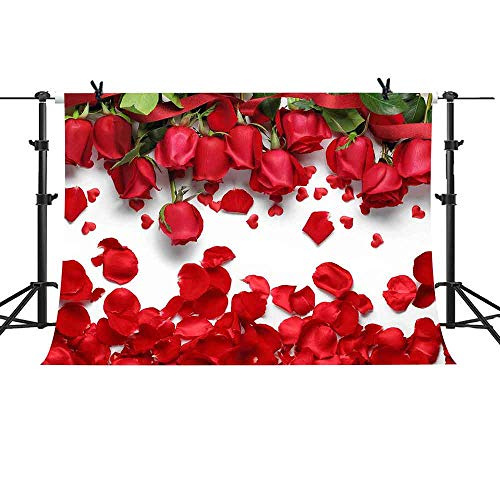 MME 10X7FT White Background Romantic Red Rose Petals for Sweet 16 Party Photo Booth Props Backdrop LFME403