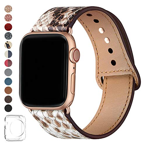 LOVLEOP Bands Compatible with Iwatch Band 40mm 38mm 44mm 42mm, Top Grain Leather Smart Watch Strap for iWatch Series 4 Series 3 Series 2 Series 1 … (Snake Print + Rose Gold Connector, 42mm 44mm)