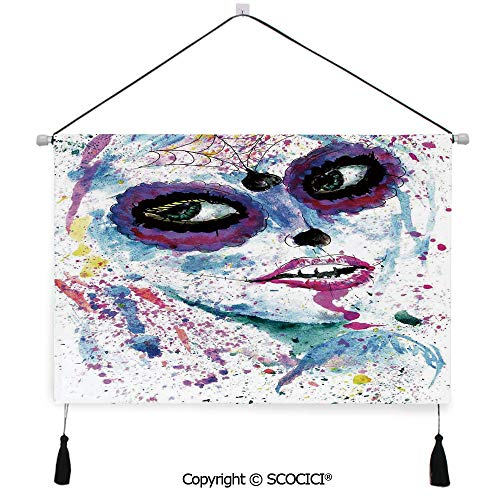 SCOCICI Durable Material Multipurpose W24xL17inch Wall Hanging Tapestry Grunge Halloween Lady with Sugar Skull Make Up Creepy Dead Face Gothic Woman Artsy Decorative Painting Living Room Painting Fab]()