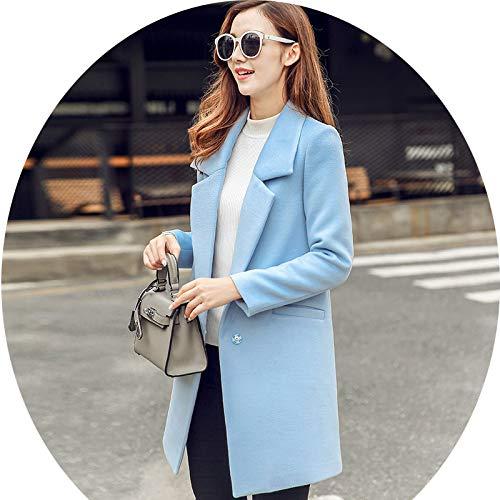 Colore Delle m Moda azzurro Donne Donna Giacca Azw Lana Top Donna Femminile Casual Abbigliamento Solido Autunno Di E Inverno Da Sottile Cappotto OSZgn