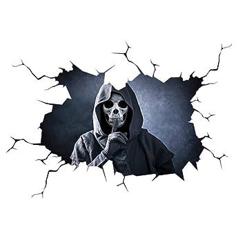Car Window Sticker Happy Halloween Stickers Silent Skull Sticker Wall Decal