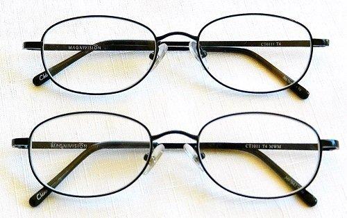 - (2 PACK + BONUS) Magnivision +2.00 TITANIUM (T4) Black Oval Metal Wire Rim Reading Glasses + 1 FREE BONUS TRAVEL GLASS POUCH & 1 MICRO-SUEDE CLEANING CLOTH