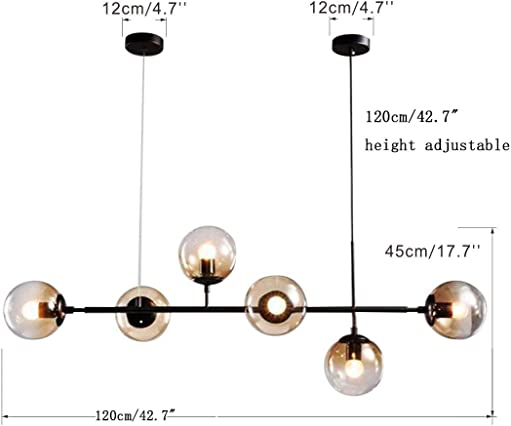 Modo Lighting Modern Ceiling Pendant Lighting Adjustable Chandelier 6-Light Lamp Globe Glass Hanging Light Fixture