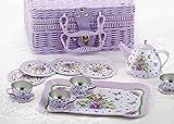 tin tea sets with basket - Delton Children's Tin Tea Set in Basket, 15 Pcs, Pansy