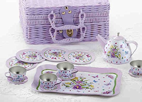 Delton Children's Tin Tea Set in Basket, 15 Pcs, Pansy (Plastic Kids Tea Sets)