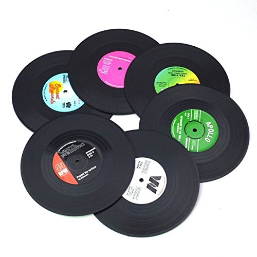 Vinyl Record Set of 6 Colorful Disk Cup Mat with Funny Labels Crafts Decoration Artwork for Party Decor Artist Studio Vintage