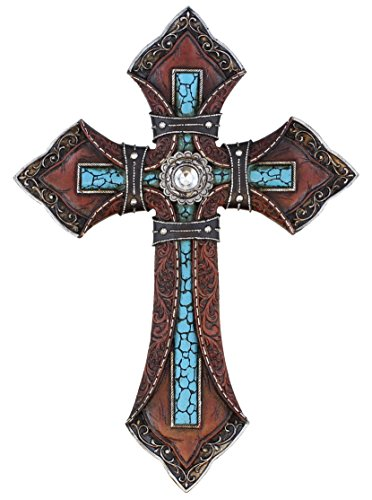 Tooled Leather Look Wall Cross - Faux Turquoise with Center - Wall Cross Western