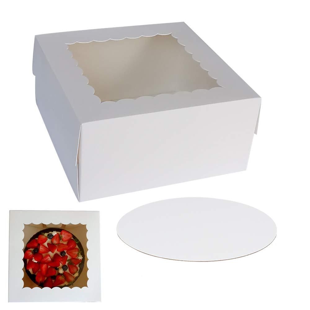 ZMYBCPACK - Cajas para tartas con ventana de 25,4 x 25,4 x 12,7 cm (10 unidades de cada uno), caja para pasteles de cartón para panadería, pasteles, pasteles: Amazon.es: Industria, empresas y ciencia