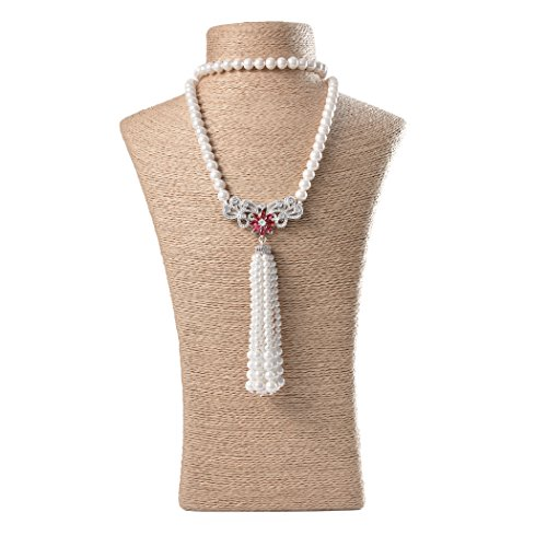 ART KIM Luxury Red Gemstone Flower Sliver Pendant Single Strand Pearl Tassels Necklaces (Angle Wing)