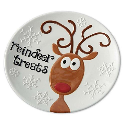 Reindeer Treats Hand Painted Earthenware Christmas Snowflakes Plate