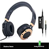 Active Noise Cancelling Headphones with Mic,Alteng J19 Noise-isolating Foldable and Lightweight Earphones with Hi-Fi, 20H for music time travel and office computer-Wired, Black