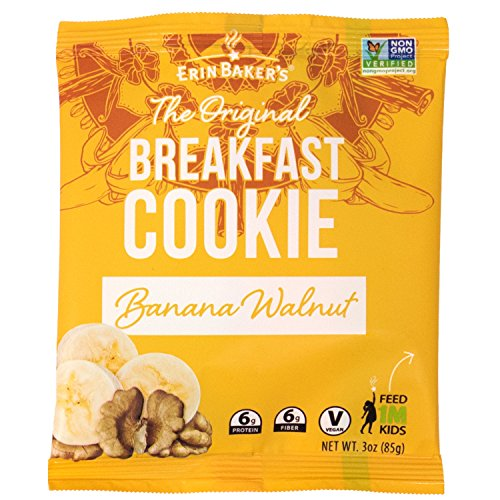 Erin Baker's Breakfast Cookies, Banana Walnut, Whole Grain, Vegan, Non-GMO, 3-ounce (Pack of 12) ()