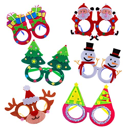 Christmas Costume Party Fancy Eyeglasses Frames 6 Pack DIY Felt Dress-up Craft Kits Xmas Photo Booth Props for Kids Xmas New Years Holiday Party Favor Gifts ()