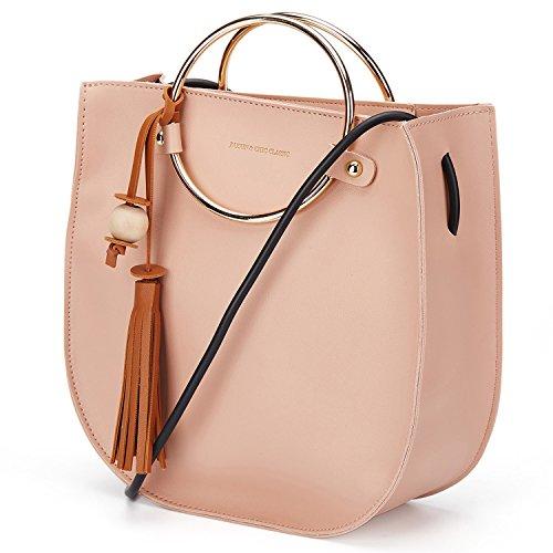 Bag Ring (Women O-Ring Handle Tassel Handbag Metallic Handle Handbag Spring Women Crossbody Bags Purses and Shoulder Bags (Pink))