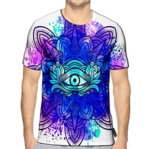 3D Printed T-Shirts Third Eye with Mandala Style Best for Adult Coloring Book and Meditation Relax Short Sleeve Tops Tees b