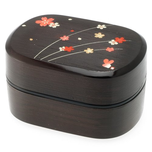 Kotobuki 2-Tiered Bento Box, Black/Red Cherry (Sakura) Blossom