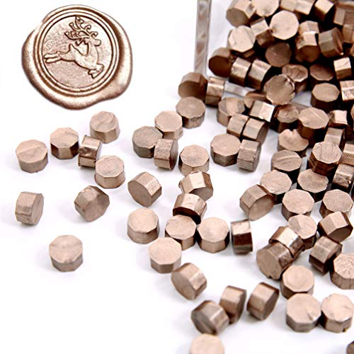 UNIQOOO Arts & Crafts 180 Pcs Metallic Champagne Gold Bottle Sealing Wax Beads Nuggets for Wax Seal Stamp, Great for Embellishment of Cards Envelopes, Wedding Invitations, Wine Packages, Gift - Beads Nugget Large