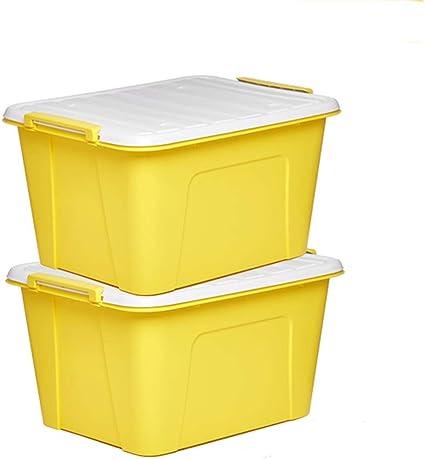 Caja de almacenamiento de plástico para ropa con cubierta grande, caja de almacenamiento de juguetes, caja de acabado (color: amarillo verde), amarillo, 59.5 * 45.32cm: Amazon.es: Oficina y papelería