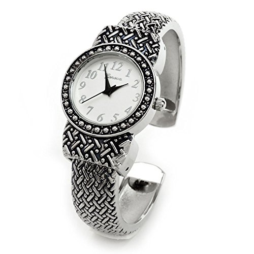 Silver Black Western Style Decorated Round Face Women's Bangle Cuff (Ladies Silver Western Style Watch)