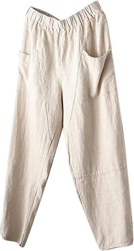 Popular Women/'s Casual U-neck Cotton and linen Bib Pants For Outdoor Sport