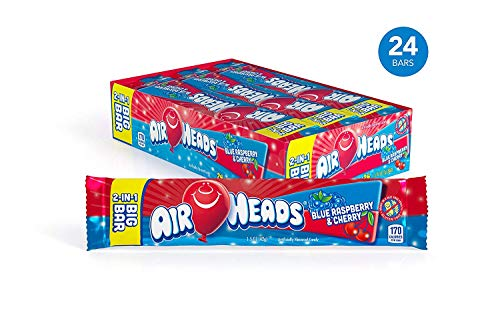 Airheads Candy 2-in-1 Big Bar, Blue Raspberry and Cherry, Stocking Stuffer, Gift, Holiday, Christmas, 1.50 Ounce (Bulk Pack of 24) ()