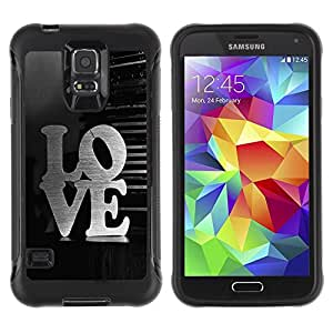 Paccase / Suave TPU GEL Caso Carcasa de Protección Funda para - LOVE Typography - Samsung Galaxy S5 SM-G900