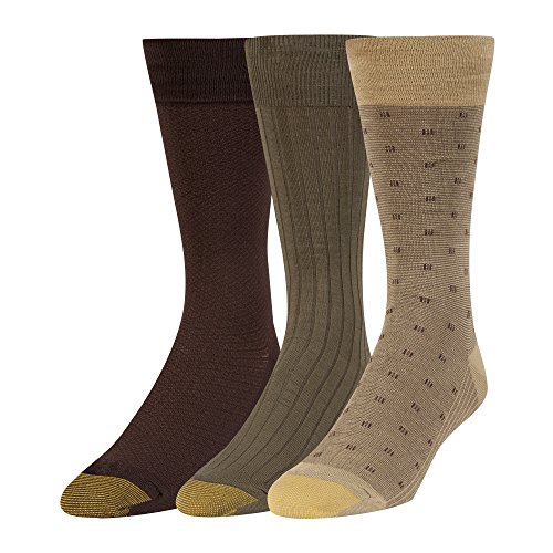 - Gold Toe Men's Dress Crew Socks, 3 Pairs, camel/olive/brown, Shoe Size: 6-12.5