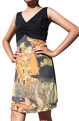 RaanPahMuang Gustav Klimt The Kiss Collage Black Bust Dress, Medium
