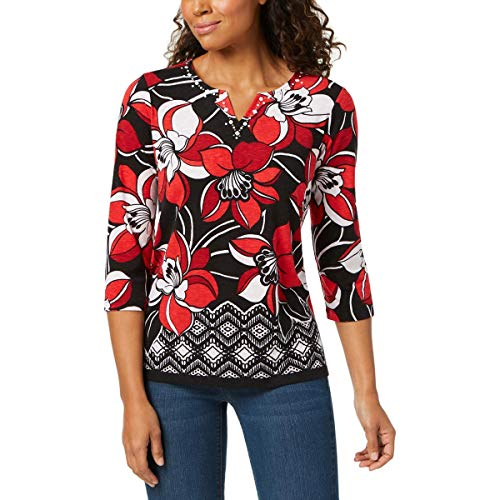 - Alfred Dunner Women's Petite Border Floral top, Multi, PM