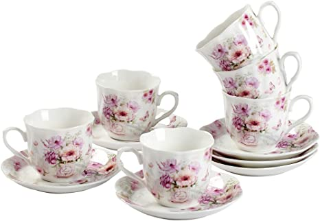 Amazon Com Guangyang Purple Flower Mini Espresso Cups With Saucers Porcelain Turkish Coffee Cup And Saucer Set Of 6 2 8oz Gift Set Cup Saucer Sets