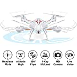 Beebeerun Wifi FPV Quadcopter Drone with Camera Live Video 2.4GHz Headless Mode Altitude Hold One-Key Function VR Headset-Compatible Gravity Induction Damage Resistance (White Drones with camera)