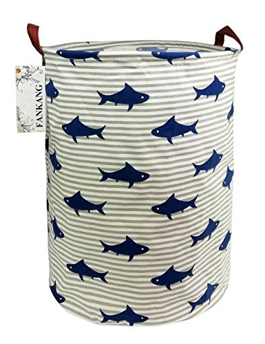 FANKANG Storage Bins, Nursery Hamper Canvas Laundry Basket Foldable with Waterproof PE Coating Large Storage Baskets for Kids Boys and Girls, Office, Bedroom, Clothes,Toys (Shark) (Kids Basket)