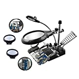 Beileshi 2.5X 7.5X 10X LED Light Magnifier Desktop Magnifying Glasses Helping Hand Auxiliary Clamp Alligator Clip Stand (2.5x+7.5x+10x)