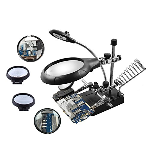 Beileshi 2.5X 7.5X 10X LED Light Helping Hands Magnifier Station Magnifying Glass Stand with Auxiliary Clamp and Alligator Clips