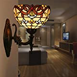 CCSUN E26 Tiffany-Style Wall Light - Creative Glass Wall Sconce Lamp for Bedroom Living Room-B