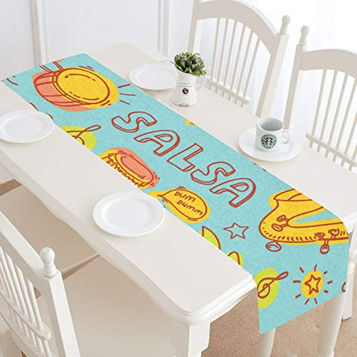 WUwuWU Horn Musical Instrument Classical Table Runner Kitchen Dining Table Runner 16x72 Inch for Dinner Parties Events -