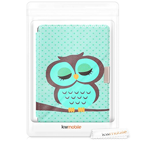 kwmobile Cover case for Kobo Aura Edition 2 with stand - Ultra slim case made of synthetic leather Sleeping Owl in turquoise brown mint by kwmobile (Image #7)