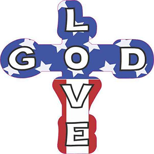 StickerTalk 4inx4in Patriotic God Love Cross Sticker Christian Car Window Bumper Decal (Forming Cross Pattern)