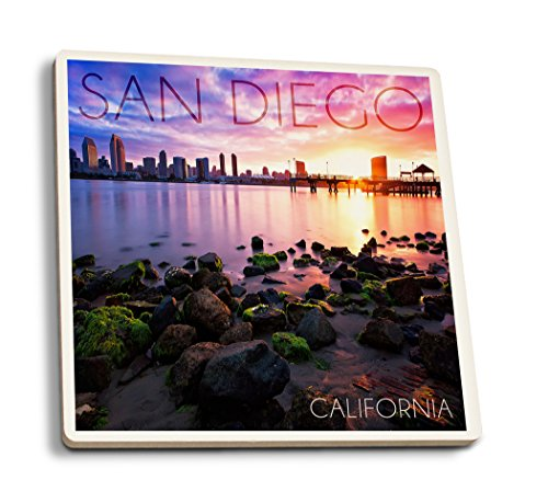 San Diego, California - Ocean and Skyline at Sunset (Set of 4 Ceramic Coasters - Cork-backed, Absorbent) San Diego Coasters