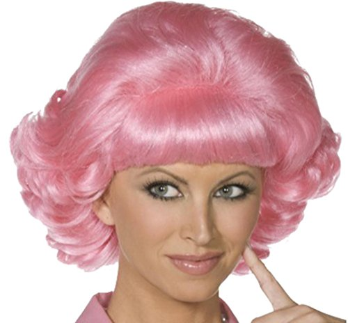 Women Fancy Dress Party Costume Headwear Short Curly False Hair Frenchy Wig Pink (Frenchy From Grease Costumes)