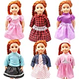 KYToy Pack of 6 Fits 18'' American Girl Dolls Dresses Colorful Handmade Skirts Outfits Realistic Daily Costumes Gown Set Bitty Baby Alive Doll Clothes