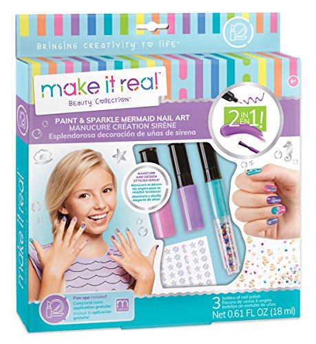 Make It Real – Paint & Sparkle Mermaid Nail Art.  Mermaid Nail Polish, Sticker, and Decoration Kit for Girls. Includes Mermaid Nail Polish, Mermaid Stickers and Mermaid Nail Art Decorations