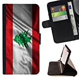 FJCases Lebanon Lebanese Waving Flag Slim Wallet Card Holder Flip Leather Case Cover for Apple iPhone 7 Plus / iPhone 8 Plus