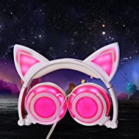 Cat Ear Wired Foldable Adjustable Hearsets Earphones Flash Blue Light for Mp3