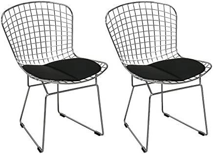 Cool Mod Made Chrome Wire Chair Mid Century Modern 2 Pack Black Creativecarmelina Interior Chair Design Creativecarmelinacom