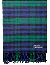 2 PLY 100% Cashmere Winter Scarf Elegant Collection Made in Scotland Warm Soft Wool Solid Plaid (Green Blue Black 317)