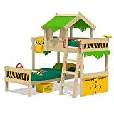 WICKEY Bunk Bed Crazy Jungle Loft Bed Twin Bed for Children with slatted Bed Base and roof, applegreen-Yellow
