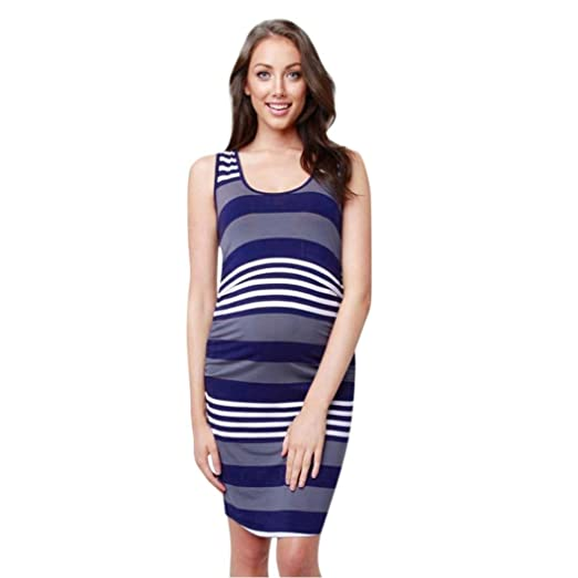 fdf862fdca425 WensLTD Womens Pregnant Vest Dress Nursing Baby Maternity Vest Striped  Sleeveless Dress Clothes (S,