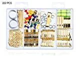 Picture Hanging Assortment Kit Asst for Wall Mounting - 222 Pcs Photo Frame Hooks Medium Picture Hangers with Wires and Spirit Level 10lbs 20lbs 30lbs 50lbs 100lbs